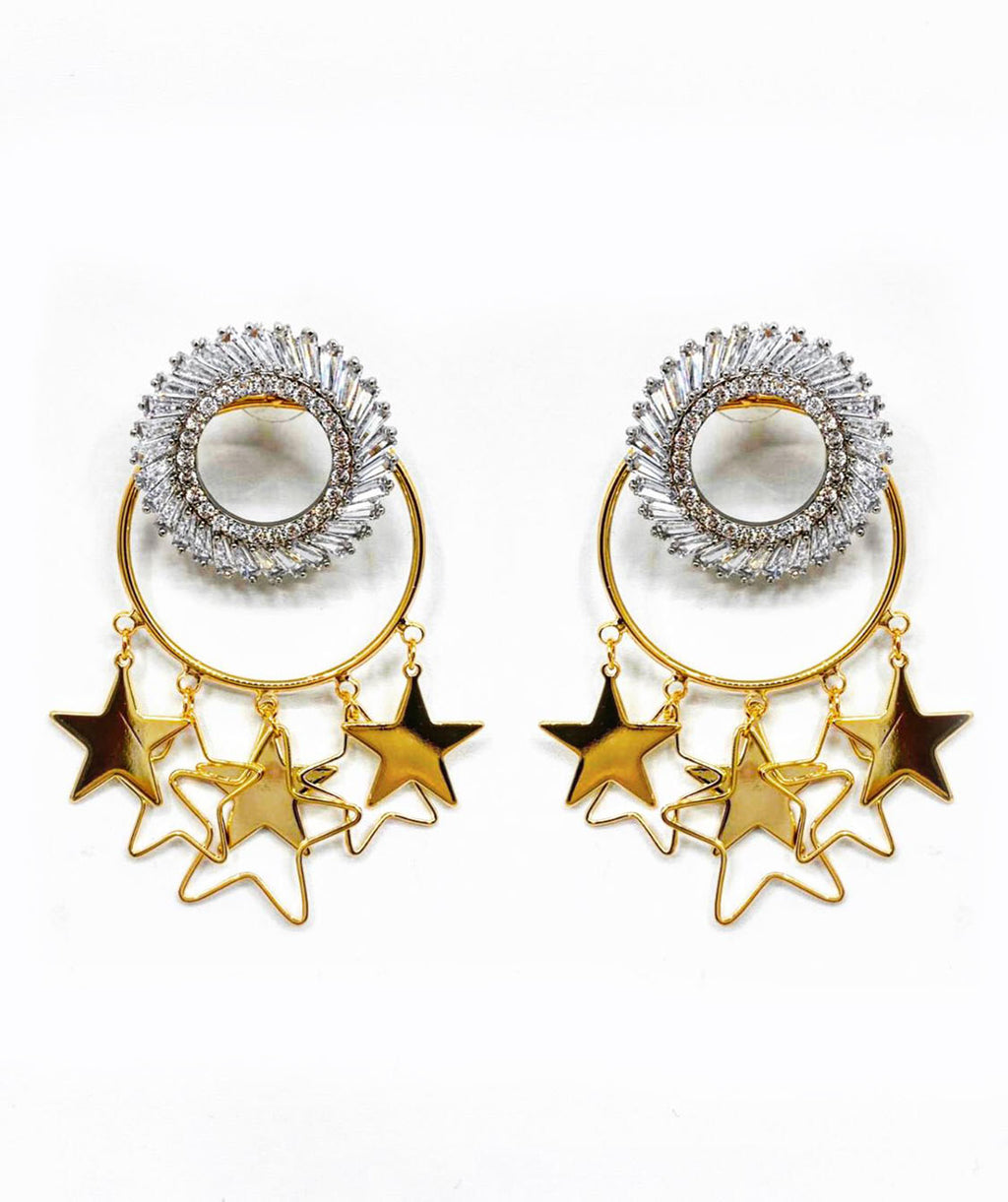 GOLD DANGLING STARS WITH CRYSTAL STUD EMBELLISHED EARRINGS