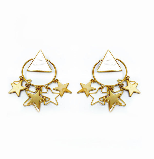 GOLD DANGLING STARS WITH WHITE TRIANGLE STUD EMBELLISHED EARRINGS
