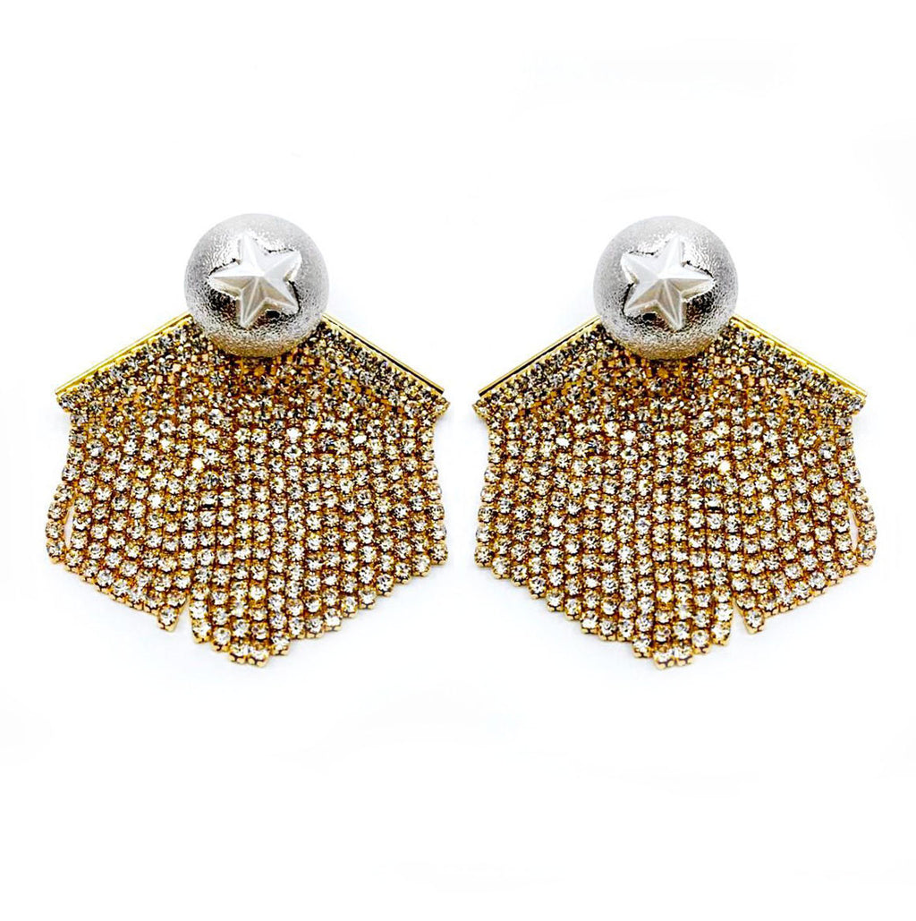 DETACHABLE SILVER STAR STUD FRINGE EARRING