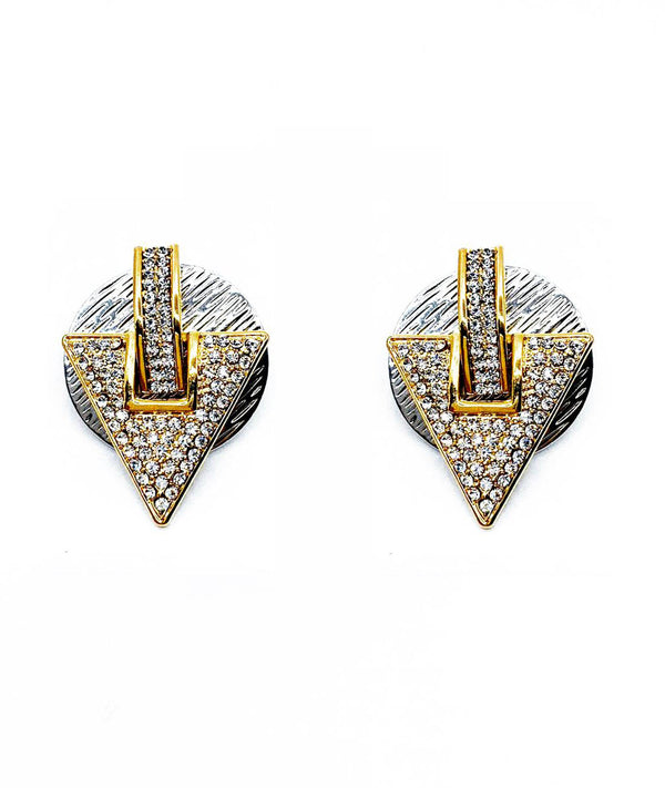 DETACHABLE TRIANGULAR STUD GLASS CRYSTAL EARRINGS