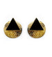 DETACHABLE BLACK TRIANGLE WITH GOLD ROUND STUD EARRING