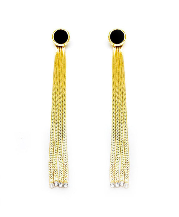 BLACK ROUND STUD FRINGE EARRINGS