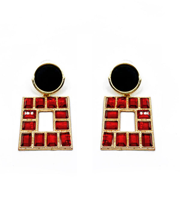 ROUND STUD WITH SQUARE SHAPE DROP EARRINGS