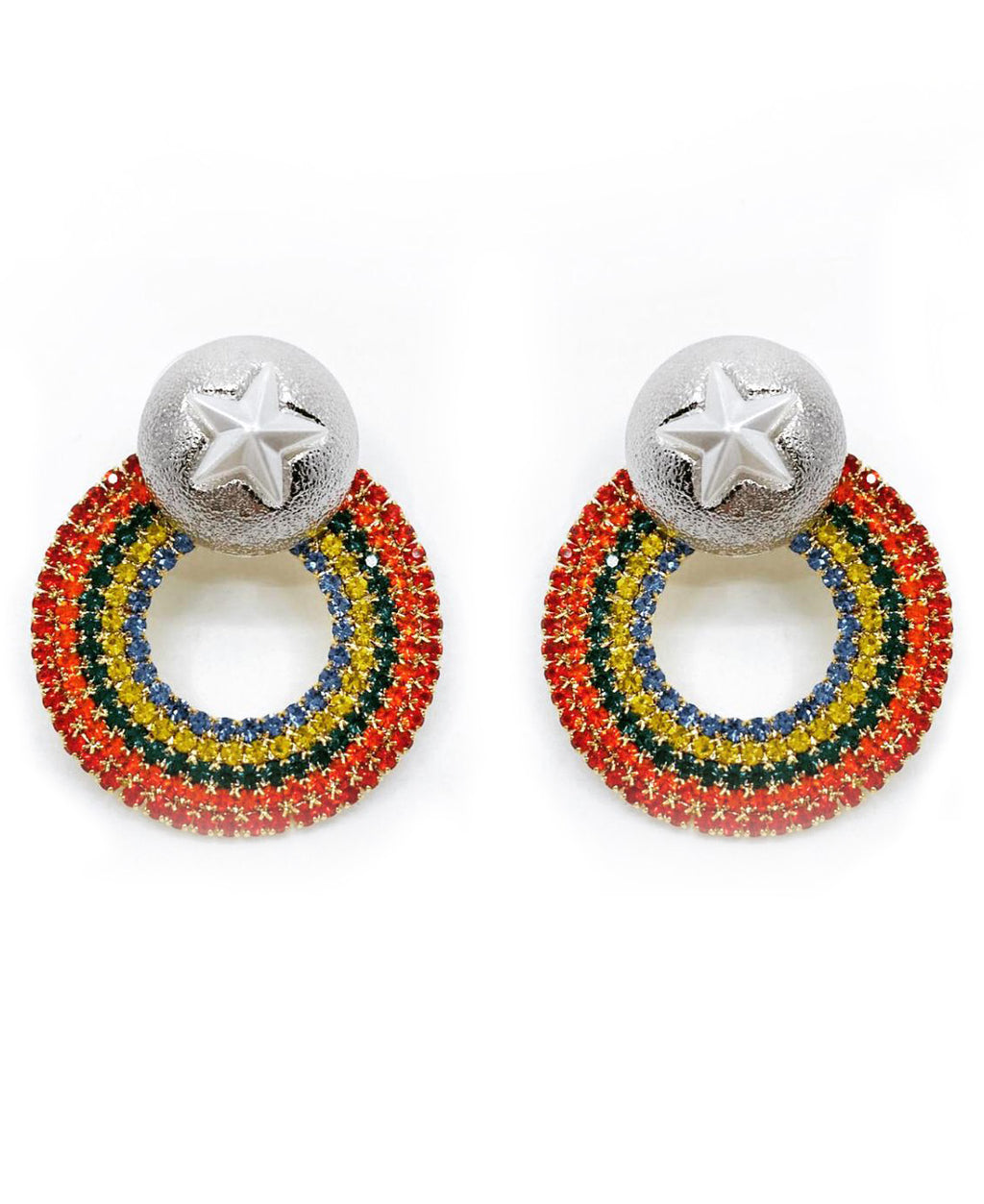 SILVER STAR STUD RAINBOW EARRINGS