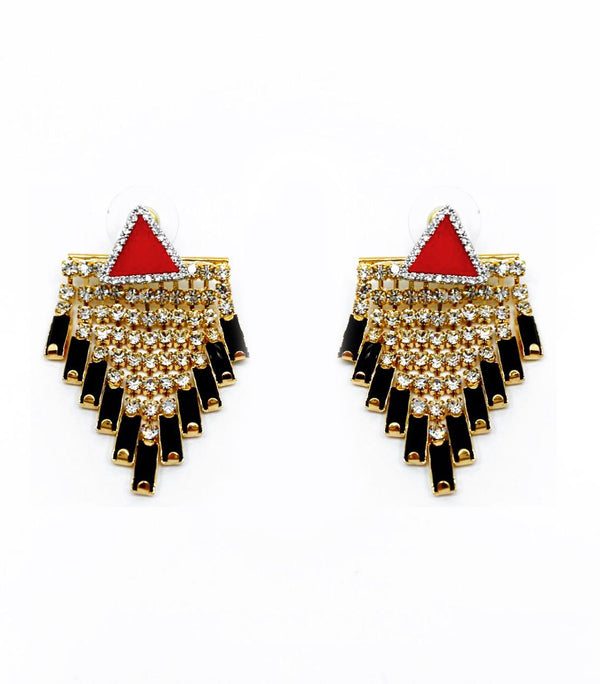 VENNA TRIANGULAR STUD DETACHABLE CRYSTAL FRINGE DROP EARRINGS