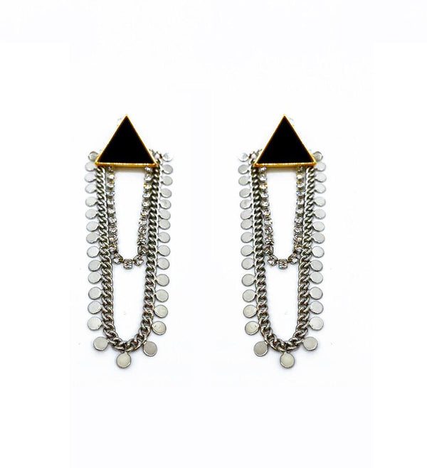 DETACHABLE GLASS TRIANGULAR STUD DROP EARRINGS