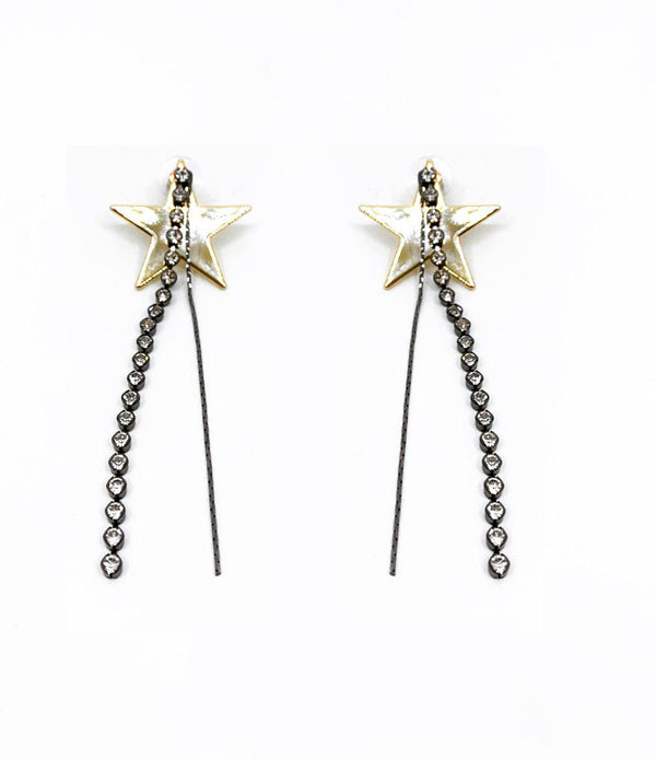 GLASS CRYSTAL FRINGE STAR STUD CHAIN DROP EARRINGS