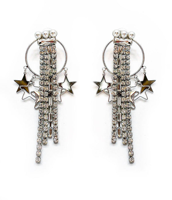 DETACHABLE STARY CRYSTAL FRINGE DROP STAR EARRINGS