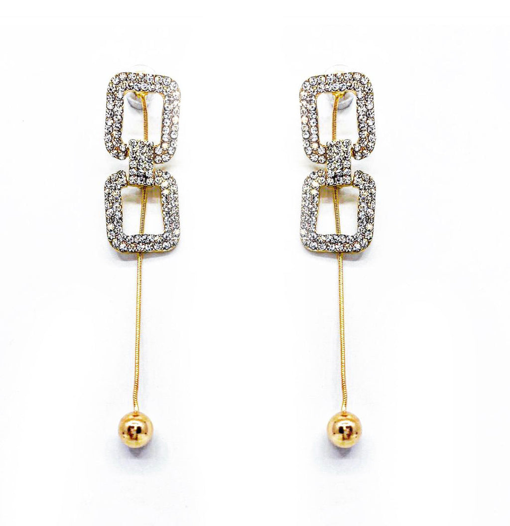 GLASS CRYSTAL DROP EARRINGS
