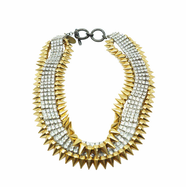Spikes Studs Glam Crystal Necklace