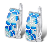 Blue Flower Silver Earrings