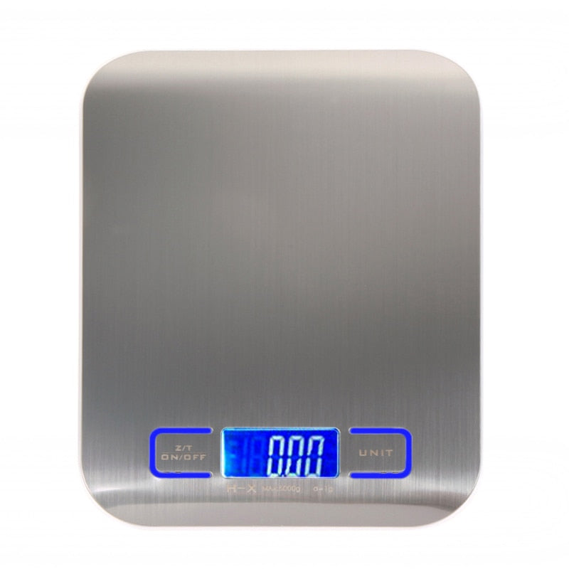 11LB/5000g Digital Kitchen Scales Stainless Steel Electronic Balance LED Food Scales Kitchen Cooking Measure Tools Plus LED Light