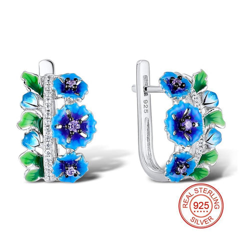 Silver 925 Flower Earrings Zirconia Stone