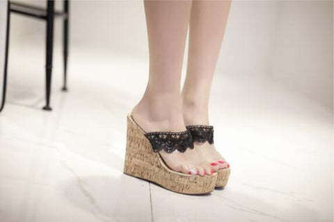 Stylish Lace High Sandal Shoe 160619