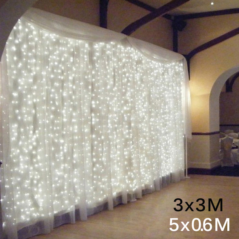 300 LED Window Curtain String Light Wedding Party Home Garden Bedroom Outdoor Indoor Wall Decorations, Warm White