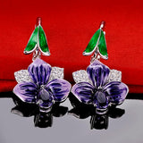 Flower Zirconia Stone Silver 925 Earrings
