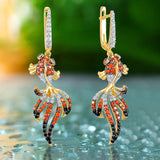 Gold Fish Earrings Silver 925 With Zirconia Stone