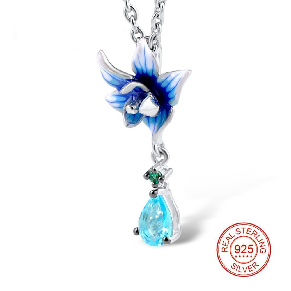 Blue Flower 925 Silver Pendants