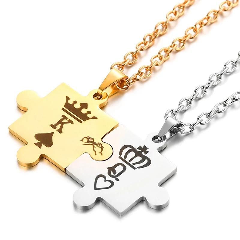 Lover King + Queen Pendant Necklace Set 290919