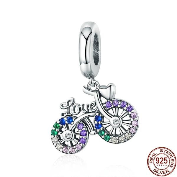 Colorful Bike 925 Sterling Silver Pendant 010619