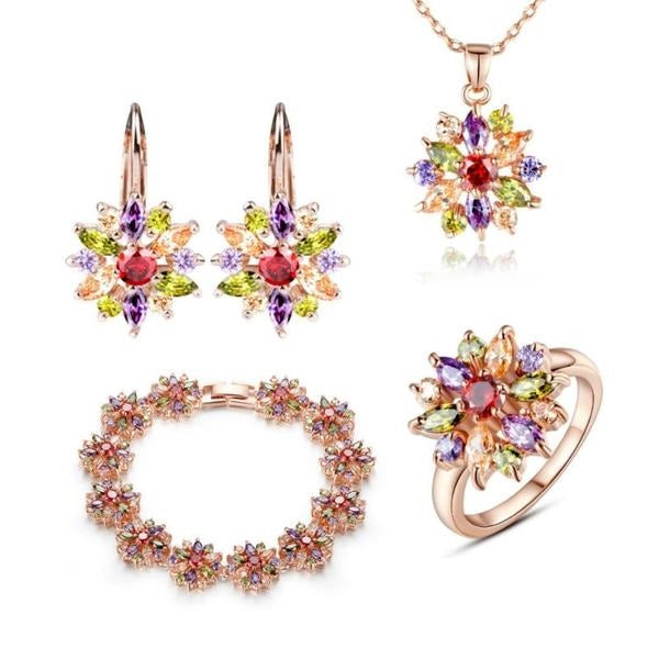 Colorful Flower Luxury Jewelry Sets 010619