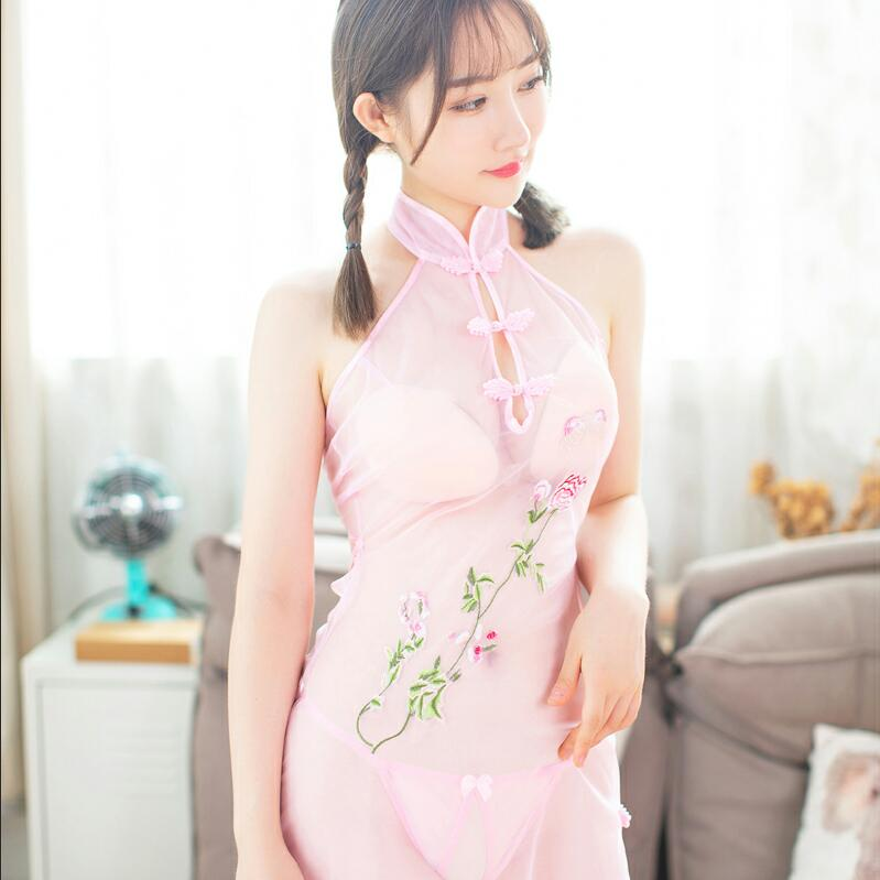 Floral Embroidery Qipao Lingerie Set 210919