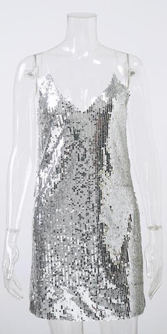 Luxury Silver Sequined Mini Dress 1711118
