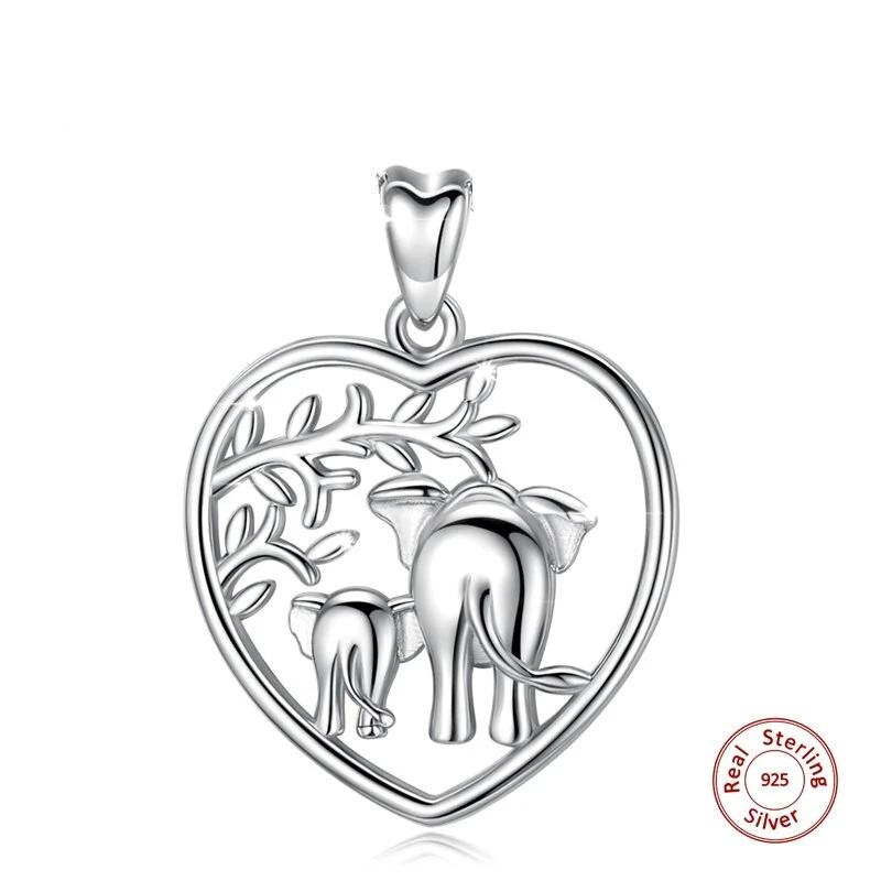 925 Silver Baby Elephant With Mother Pendant Set