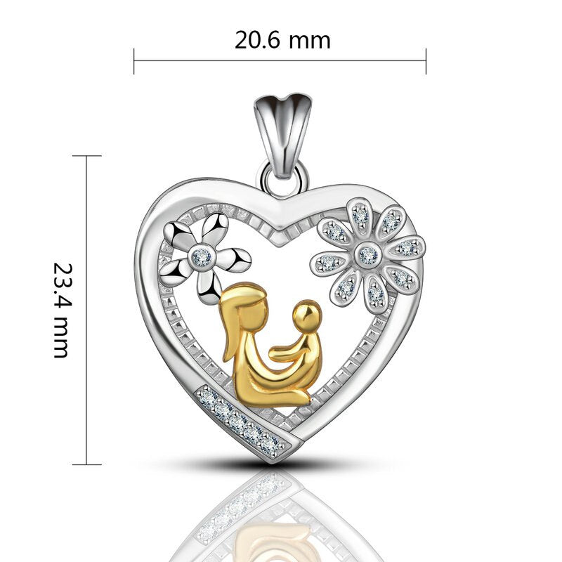 Mother and Baby Silver 925 Necklace Set