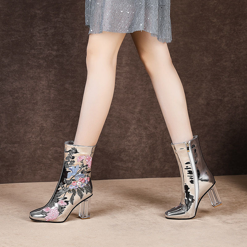 Elegant Floral Embroider High Heels