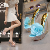 Lovely Floral Stone Wool Transparent High Heel Shoes 070919