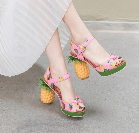 Stylish Pineapple High Heels Sandals Shoes 051019