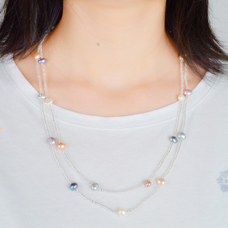Colourful Pearls Silver 925 Necklace