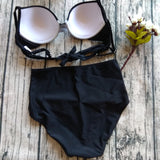 Women Vintage Swimsuits Bikinis Bathing Suits Retro Halter Underwired Top