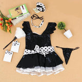 Latex Look Maid Cosplay Linegrie Set 130619