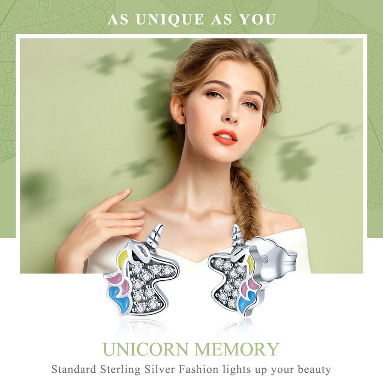 Lovely Unicorn Silver 925 Sterling Earrings 010619