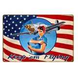 Vintage Avaition Nose Art Pin Up Girl Metal Poster Home Decor 240219