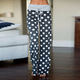Women's Comfy Stretch Floral Print High Waist Drawstring Palazzo Wide Leg Pants