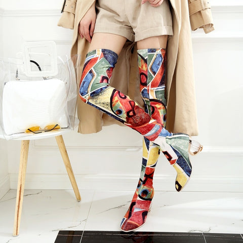 Colourful Luxury High Knee Heel Winter Shoes 061019