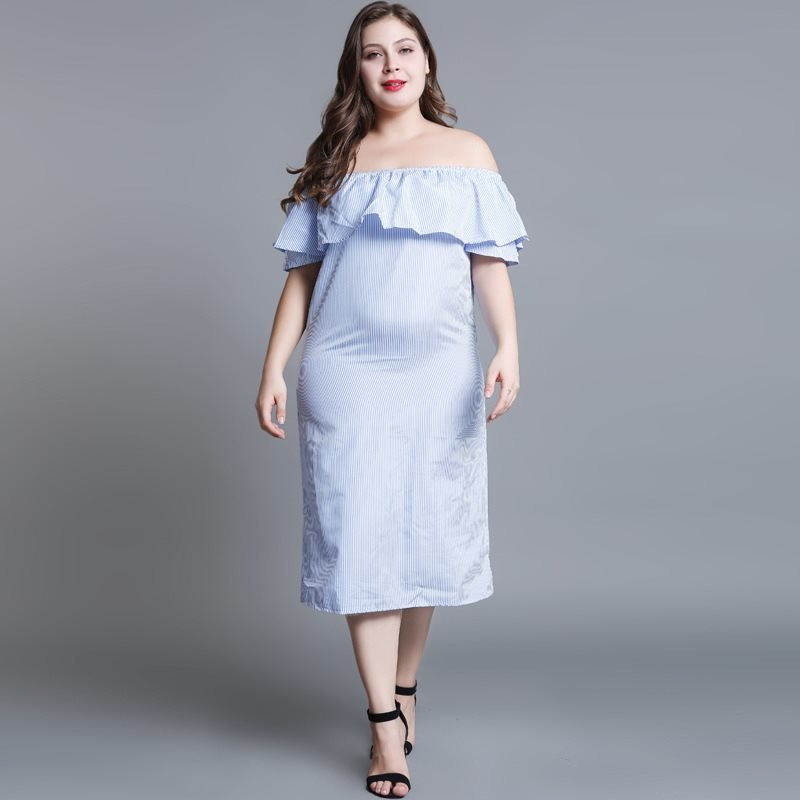 Blue Plus Size Maxi Dress 301218