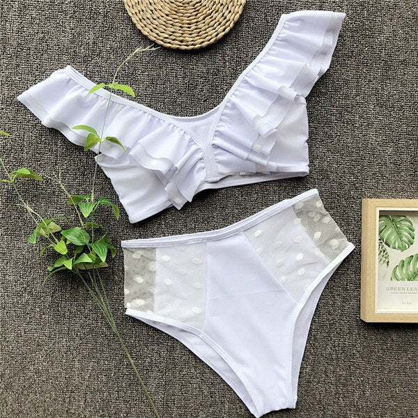 Elegant Off Shoulder High Waist Bikini Set 220919