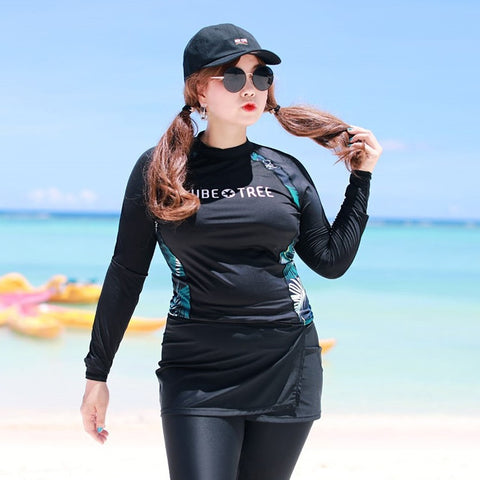 Happy Plus Size Rash Guard Swimsuit 010619