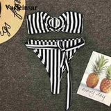 Striped Bandeau Bikini Set 170719