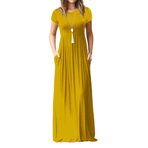 b4aed4782a Women s Short Sleeve Loose Plain Maxi Dresses Casual Long Dresses with  Pockets