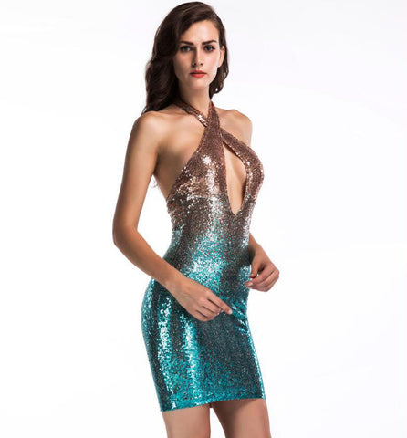 Good Looking Sequined Mini Dress 110719