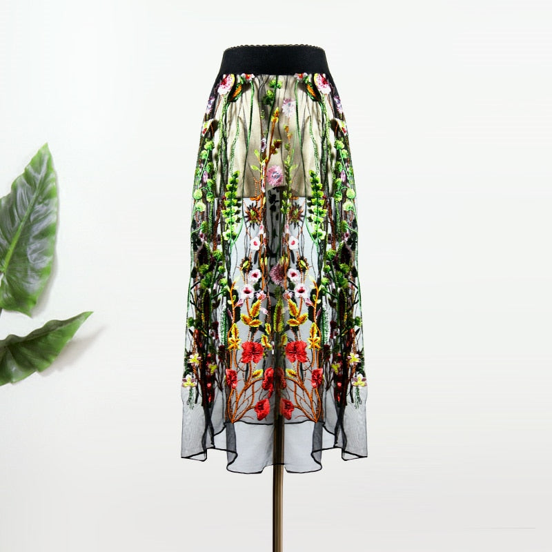 Colorful Lace Floral Embroidery Skirts 110719