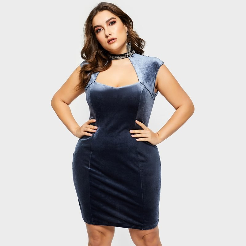 Luxury Plus Size Mini Dress 301218