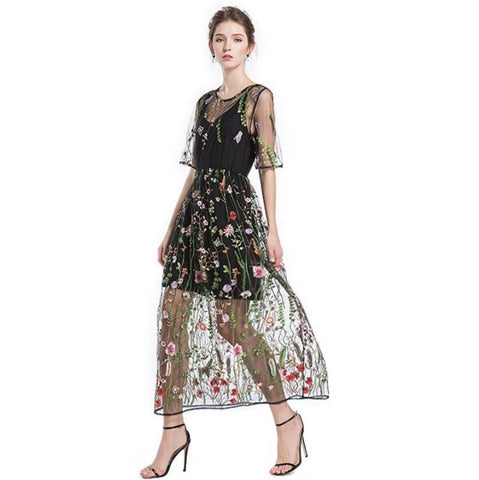 Colorful Floral Embroidery Long Dress 110719