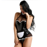 Latex Look Maid Cospaly One Pieces Dress 130619