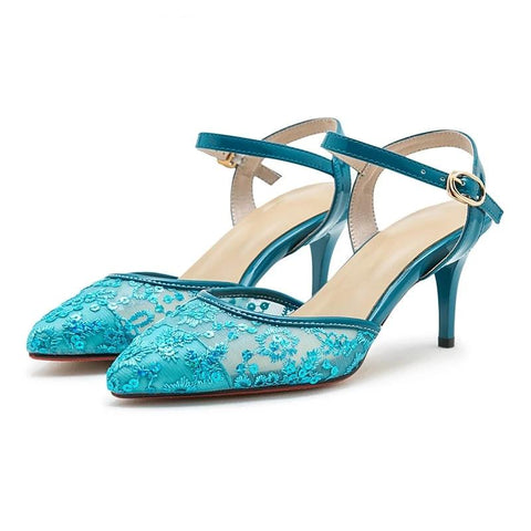 Stylish Lace High Heel Sandals Shoes 061019